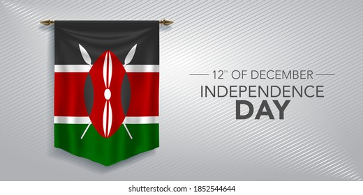 Kenya independence day greeting card, banner, vector illustration. Kenyan national day 12th of December background with pennant