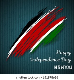 Kenya Independence Day Patriotic Design. Expressive Brush Stroke in National Flag Colors on dark striped background. Happy Independence Day Kenya Vector Greeting Card.