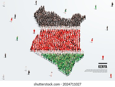 Kenya Map and Flag. A large group of people in the Kenyan flag color form to create the map. Vector Illustration.