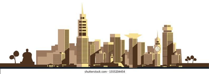 Kenya, Nairobi City Skyline Vector Illustration