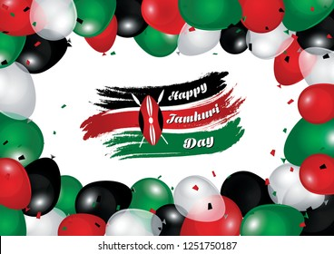 Kenya National Day Background with Vector Balloon Effect