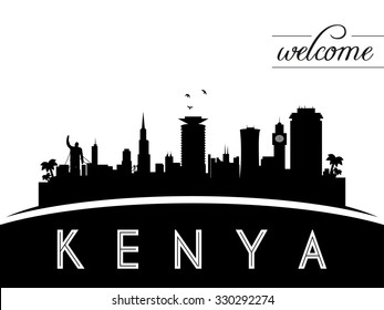 Kenya skyline silhouette, black and white design, vector illustration
