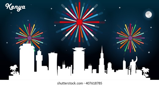 Kenya skyline silhouette, dark night sky with fireworks vector design