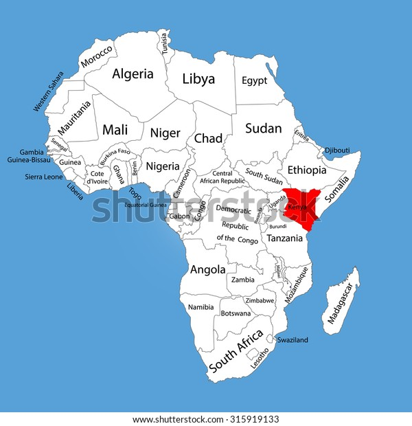 Kenya Vector Map Silhouette Isolated On Stock Vector (Royalty Free ...