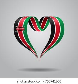 Kenyan flag heart-shaped wavy ribbon. Vector illustration.