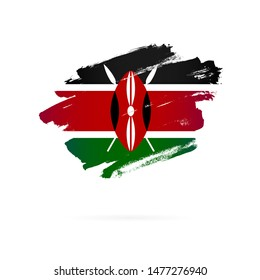 Kenyan flag. Vector illustration on a white background. Brush strokes are drawn by hand. Kenya Independence Day.