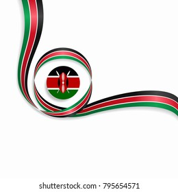 Kenyan flag wavy abstract background. Vector illustration.