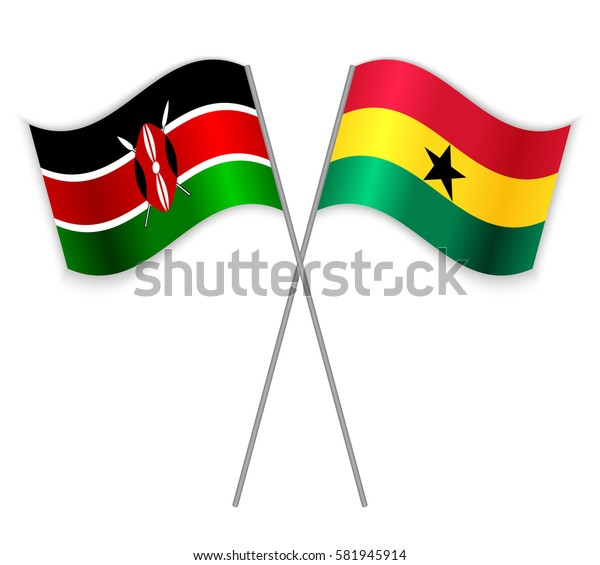 Kenyan and Ghanaian crossed flags. Kenya combined with Ghana isolated on white. Language learning, international business or travel concept.