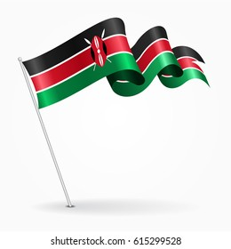 Kenyan pin icon wavy flag. Vector illustration.