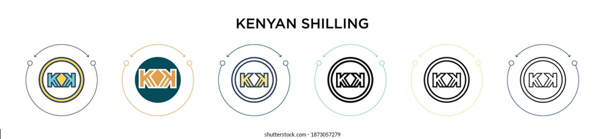 Kenyan shilling icon in filled, thin line, outline and stroke style. Vector illustration of two colored and black kenyan shilling vector icons designs can be used for mobile, ui, web