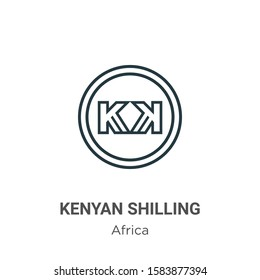 Kenyan shilling outline vector icon. Thin line black kenyan shilling icon, flat vector simple element illustration from editable africa concept isolated on white background