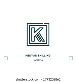 kenyan shilling vector line icon. Simple element illustration. kenyan shilling outline icon from africa concept. Can be used for web and mobile