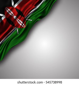 kenyan waving silky flag isolated on gray background, can be used in many topic like national day, kenya independence day and any national and international  events