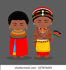Kenyans in national clothes with a flag. Samburu tribe. Man and woman in traditional costume. Travel to Kenya. People. Vector flat illustration.