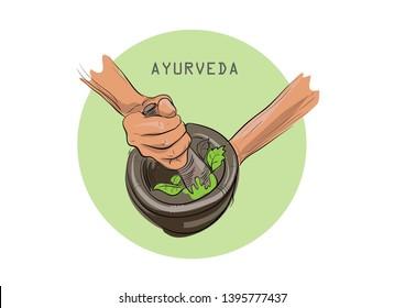 KERALA AYURVEDA TREATMENTS VECTOR ILLUSTRATIONS