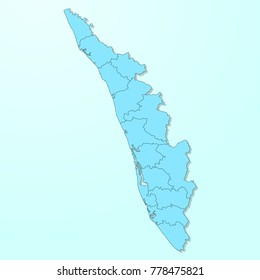 Kerala blue map on degraded background vector