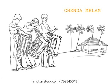 Kerala chenda melam music vector illustration