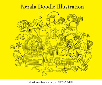 kerala doodle illustration