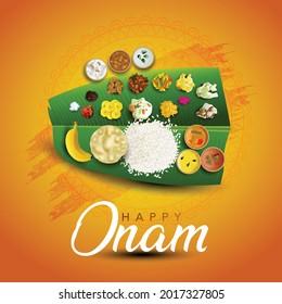 Kerala festival Happy Onam background with traditional food (onasadya) served on banana leaf. Vector illustrationdesign.