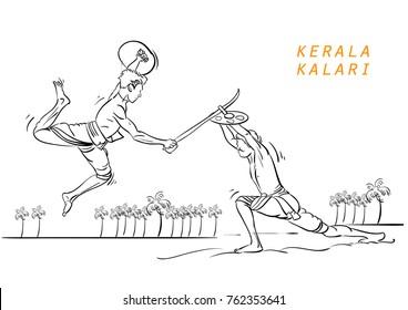 kerala kalari vector illustration