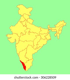 highlighted kerala in india map Kerala Map Images Stock Photos Vectors Shutterstock highlighted kerala in india map