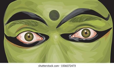 Kerala Kathakali Face Illustration Vector