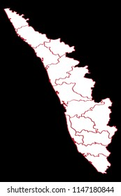 Kerala map with districts divided
