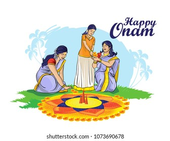 kerala onam festival illustration