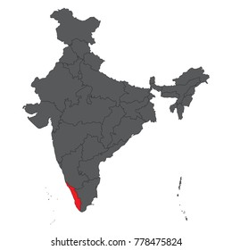 highlighted kerala in india map Kerala Map Outline Images Stock Photos Vectors Shutterstock highlighted kerala in india map