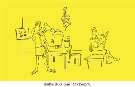 kerala tea shop line drawing