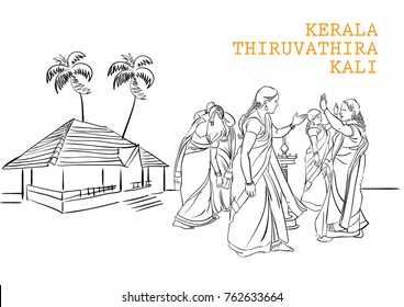 kerala thiruvathira kali vector illustration