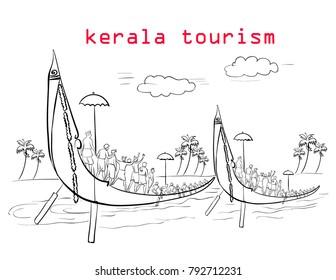 kerala tourism illustration