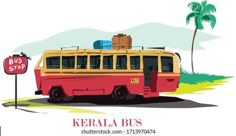 kerala transportation bus vector illustration