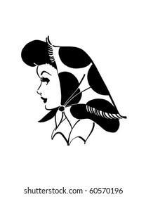 Kerchief Gal - Retro Clip Art