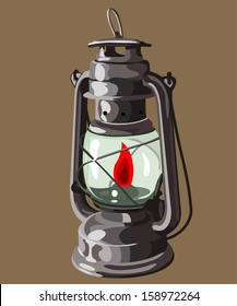 kerosene lamp burning on a brown background