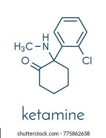 Ketamine anesthetic drug molecule. Used both medically and recreationally. Skeletal formula.