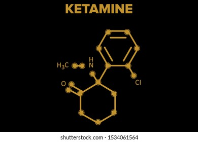 KETAMINE molecule. chemical structure on black background