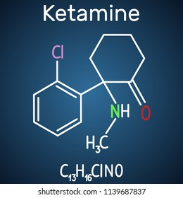 Ketamine molecule. It is used for anesthesia in medicine. Structural chemical formula and molecule model on the dark blue background. Vector illustration