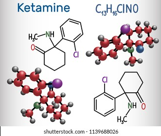 Ketamine molecule. It is used for anesthesia in medicine. Structural chemical formula and molecule model. Vector illustration