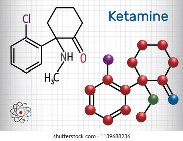 Ketamine molecule. It is used for anesthesia in medicine. Structural chemical formula and molecule model. Sheet of paper in a cage. Vector illustration