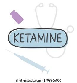 ketamine word concept - vector illustration