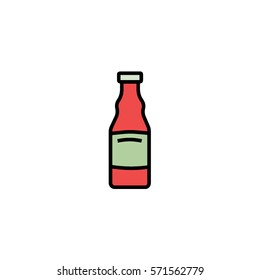 Ketchup bottle flat line icon