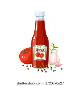 Ketchup bottle and ingredients: tomato, garlic and pepper. Vector illustration cartoon icon isolated on white.