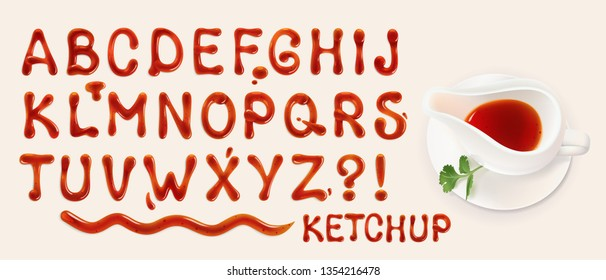 ketchup font. set of vector letters of tomato sauce