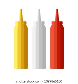 Ketchup mayonnaise and mustard bottles set. Vector catroon illustration