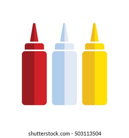 ketchup. mayonnaise, and mustard bottles, vector illustration