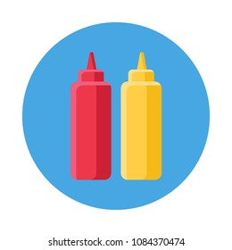 ketchup and mustard flat icon isolated on blue background. Simple ketchup and mustard in flat style, vector illustration for web and mobile design. Fast food elements vector sign