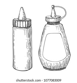 Ketchup, mustard or mayonnaise sauce bottle. Vector drawing. Food condiment  in plastic container sketch. vintage engraved illustration isolated on white background. Dishes ingredient