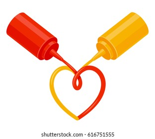 Ketchup and Mustard squeeze bottles with sauce in heart shape. Food condiments love, isolated vector illustration.