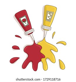 Ketchup and mustard vector cartoon illustration isolated on white background. Bottles with traditional sauces for fast food. Bright colorful tasty concept for restaurant, cafe, web design.